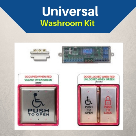 Universal washroom kit includes operator, buttons, electric strike